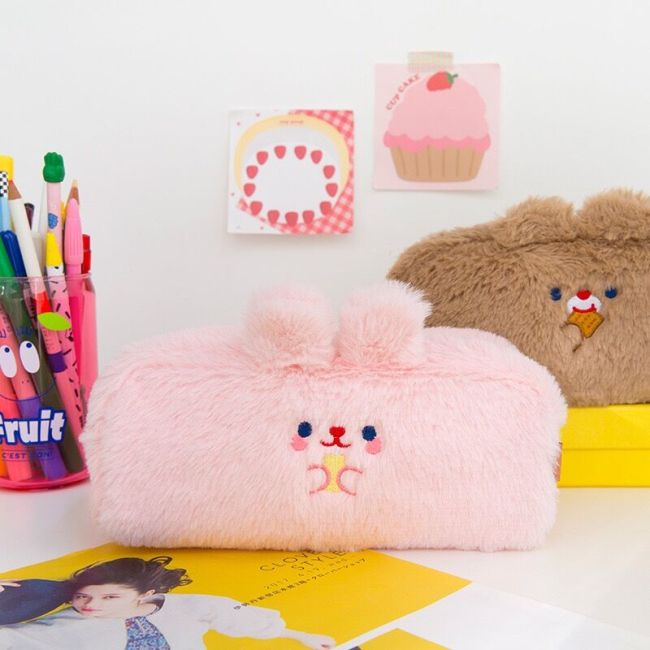 Bentoy MIlkjoy Flannel Soft Cute Beer Pencil Case Girls Make up coin purse School Student Pen 1