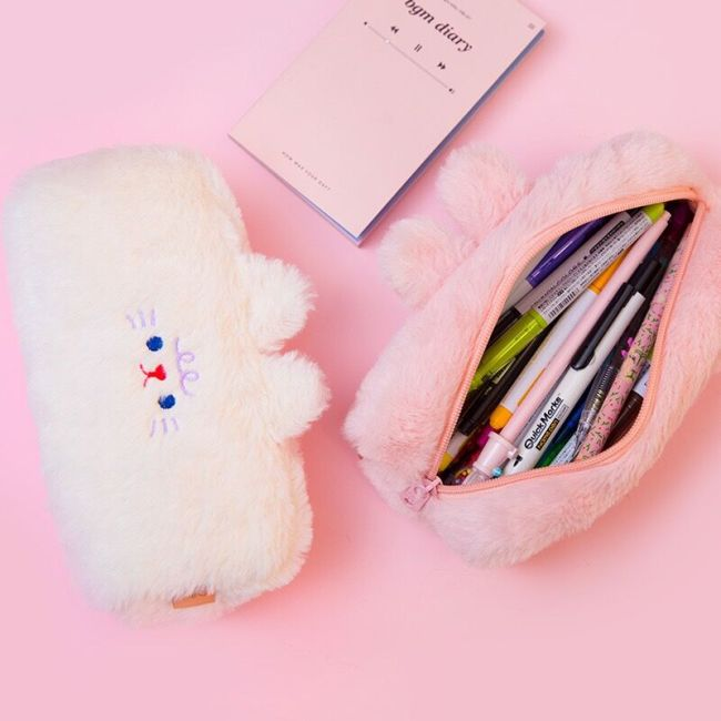 Bentoy MIlkjoy Flannel Soft Cute Beer Pencil Case Girls Make up coin purse School Student Pen