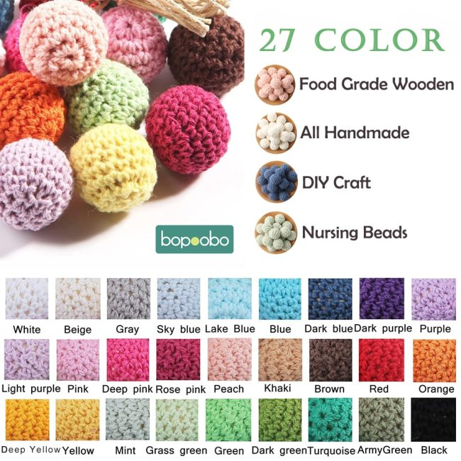 Bopoobo 20mm 10pcs Wooden Crochet Beads Chewable Beads DIY Wooden Teething Knitting Beads Jewelry Crib Sensory 2