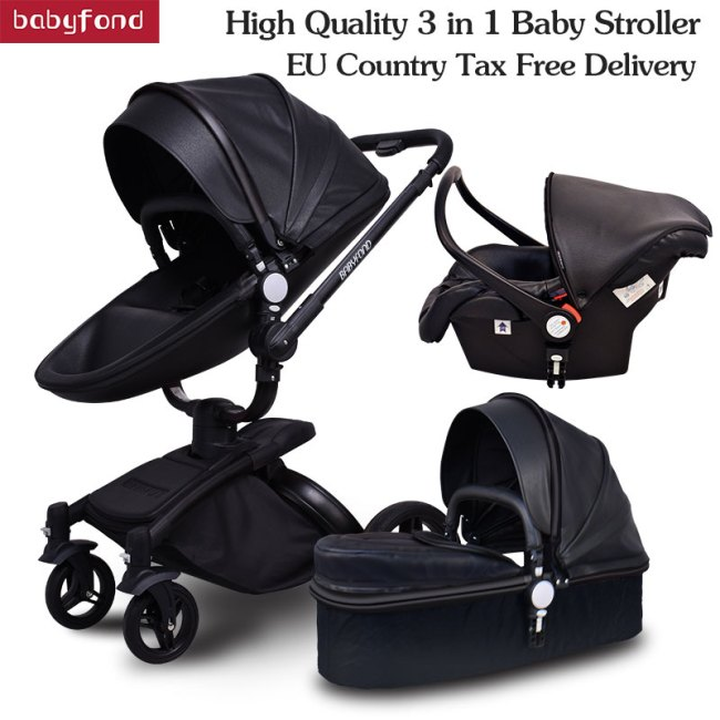 Brand 3 in 1 baby stroller folding two way push luxury high landscape baby carriage with