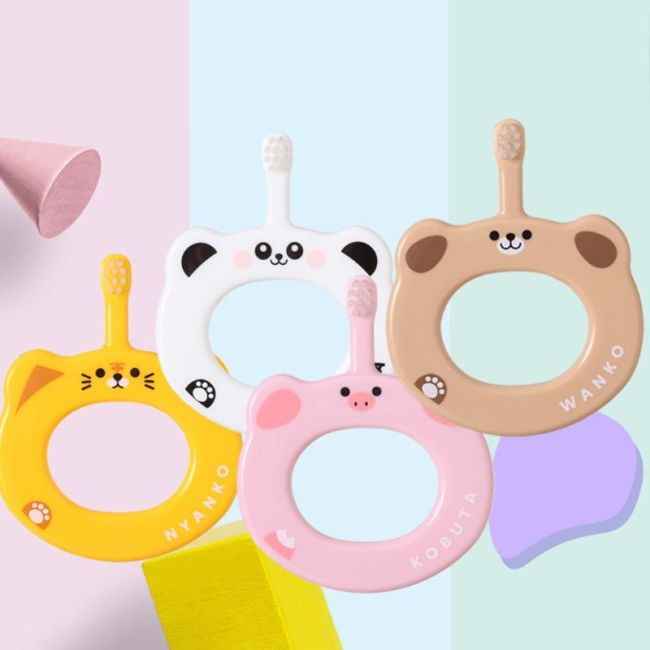 Cartoon Children Dual use Toothbrush Kids Baby Milk Tooth Training Cleaning Soft Hair Toothbrushes Anti out 1
