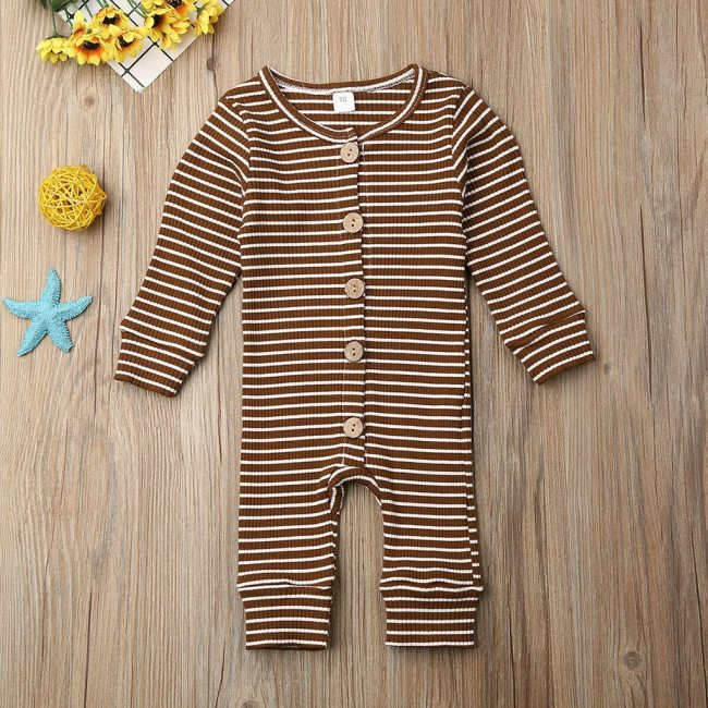 Casual Winter Cloth Toddler Infant Baby Boys Girls Long Sleeve O Neck Stripe Cartoon Print Jumpsuit 2