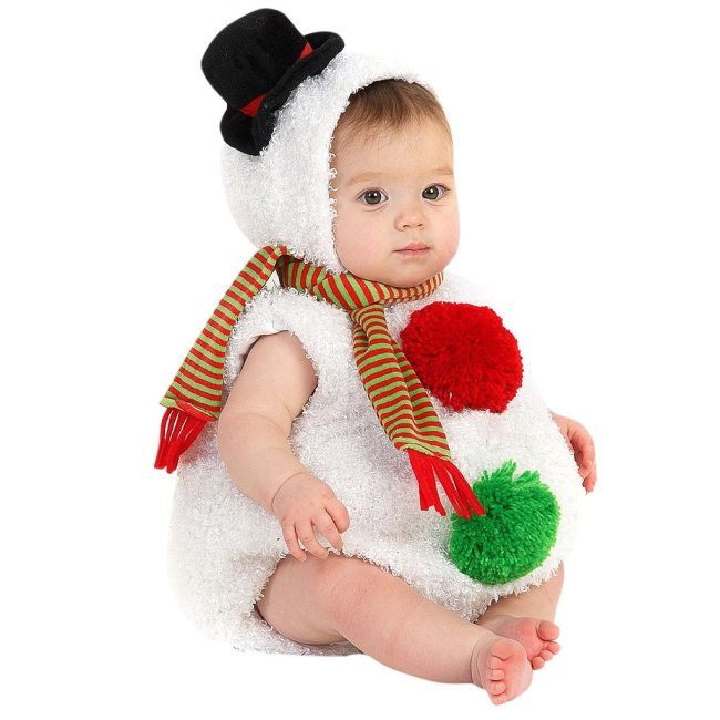 Cute Toddler Christmas Outfits Infant Baby Boys Girls Christmas Xmas Snowman Modelling Fleece Romper Scarf Sets