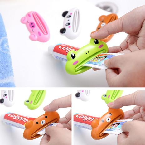 Cute Toothpaste Dispenser Holder Kid Toothpaste Animal Tooth Paste Tube Squeezer Rolling Home Bathroom Supplies Baby
