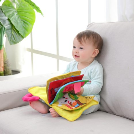 Educational Baby Rattles Mobiles Toys Infant Kids Early Development Cloth Books Cartoon Animal Learning Unfolding Animal 1