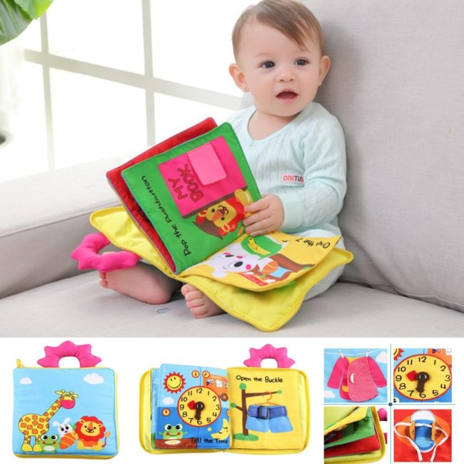 Educational Baby Rattles Mobiles Toys Infant Kids Early Development Cloth Books Cartoon Animal Learning Unfolding Animal
