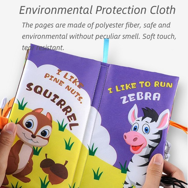 Infant 3 Style Baby Cloth Books Early Learning Educational Toys with Animals Tails Soft Cloth Development 9
