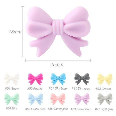Keep grow 10Pcs Bowknot Silicon Beads BPA Free Bow Tie Baby Teething Bead For DIY Jewelry 2