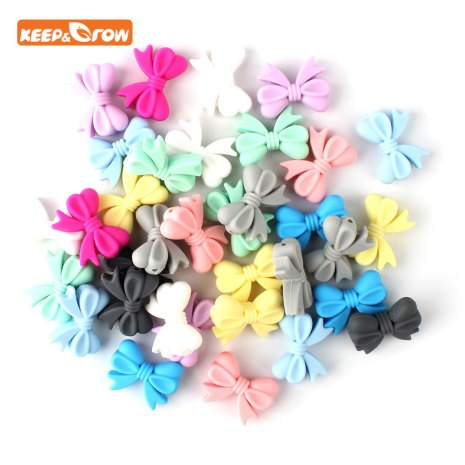 Keep grow 10Pcs Bowknot Silicon Beads BPA Free Bow Tie Baby Teething Bead For DIY Jewelry