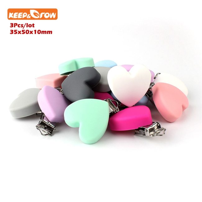 Keep grow 3Pcs Perle Silicone Dentition Heart Shaped Clips BPA Free DIY Baby Soother Nursing Dummy