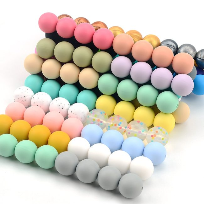 LOFCA 12mm 50pcs lot Beads food grade silicone Teether Round Beads Baby Chewable Teething Beads silicone 2
