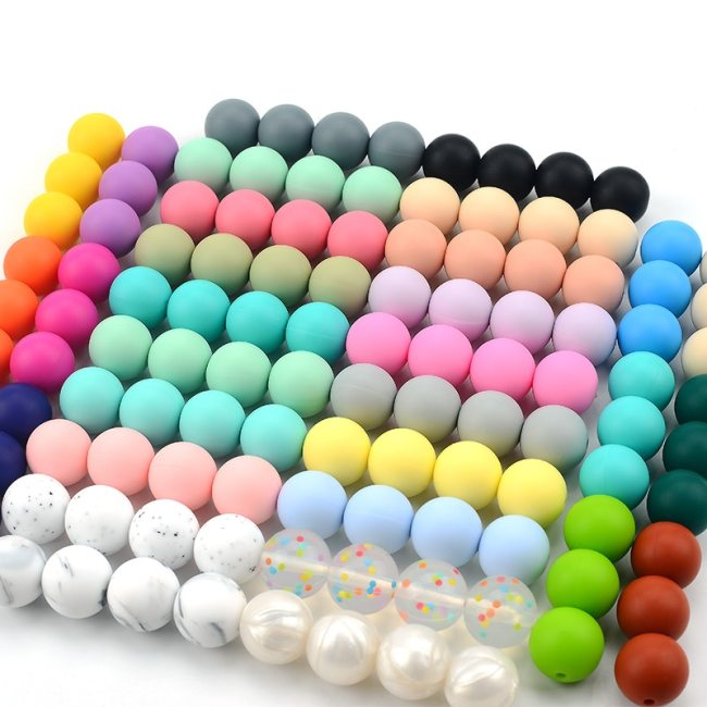 LOFCA 12mm 50pcs lot Beads food grade silicone Teether Round Beads Baby Chewable Teething Beads silicone 3