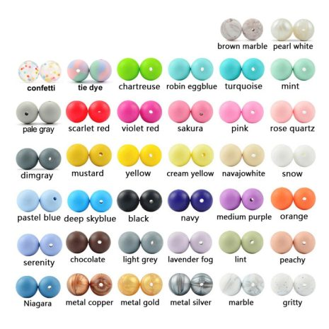 LOFCA 50pc Silicone Beads 12mm Loose Tie Dye Beads Food Grade Silicone Baby Teething Toy Chews 2