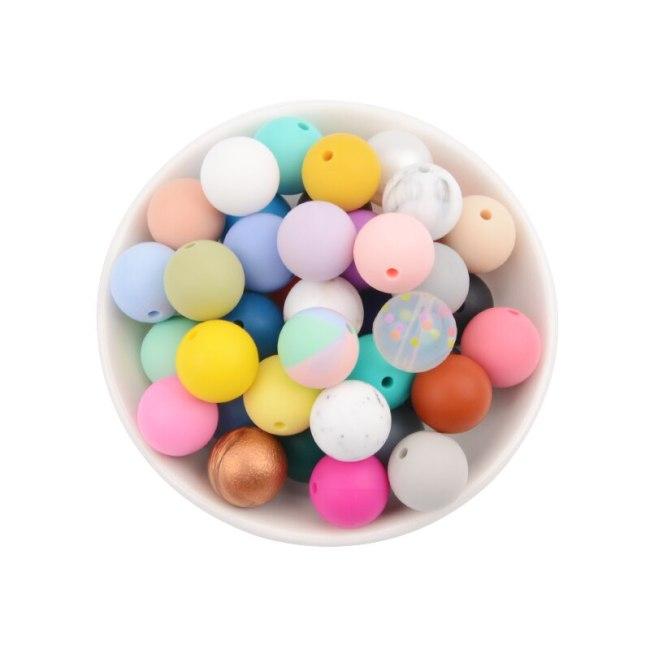 LOFCA Silicone Beads 12mm 50pcs lot Teething Necklace Round Silicone Bead Baby Teether Toy Silicone BPA 4