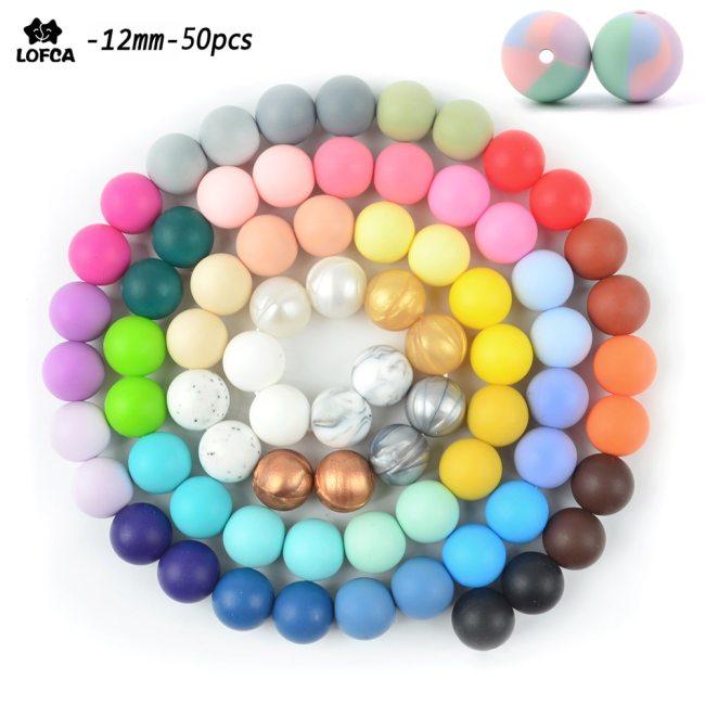 LOFCA Silicone Beads 12mm 50pcs lot Teething Necklace Round Silicone Bead Baby Teether Toy Silicone BPA
