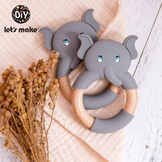 Let s Make 1pc Baby Silicone Teether Cartoon Elephant Teething Toy Beech Wood Ring Infant Comfort