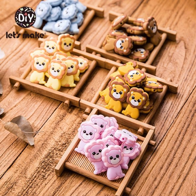 Let s Make Silicone Beads Teething Cartoon Fox Beads Animals 5pcs DIY Pacifier Clip For Children 5
