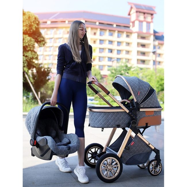 Luxury Baby Stroller 3 in 1 High landscape Baby Cart Can Sit Can Lie Baby Pushchair 5