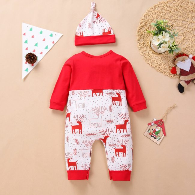 My First Christmas Newborn Baby Boys Girls Rompers Long Sleeve Christmas Bowknot Romper Jumpsuit hat Set 1