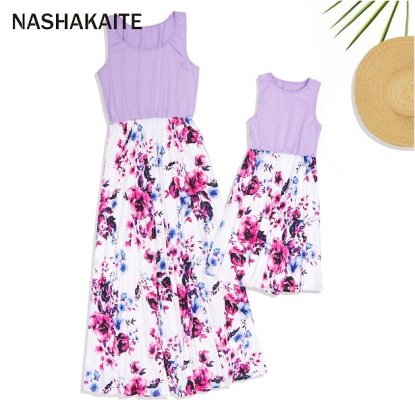 NASHAKAITE Mom and daughter dress Family matching clothes Floral Printed Long Dress For Mother Daughter Mommy 3