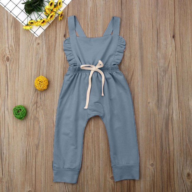 Newborn Baby Girl Boy Backless Striped Ruffle Romper Overalls Jumpsuit Clothes Onesies kid clothing toddler clothes 3