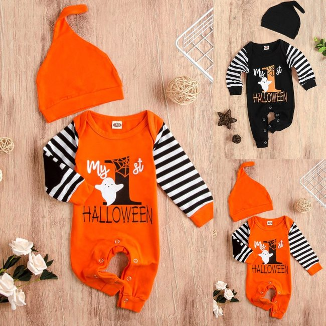 Newborn Infant Baby Girls Boys Autumn Halloween Costume For Kids Clothes Stripe Letter Print Jumpsuit Outfits