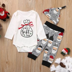 Newborn Infant Baby Girls Boys Christmas Santa Cartoon Romper Pants Outfits my first thanksgiving outfit ubranka