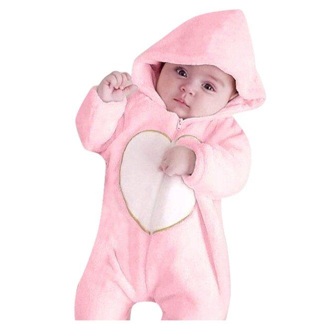 Newborn Winter Hooded Romper Baby Fleece Climbing Suit Autumn Zipper Heart Outwear Toddler Infant Boy Girl 1