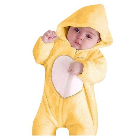 Newborn Winter Hooded Romper Baby Fleece Climbing Suit Autumn Zipper Heart Outwear Toddler Infant Boy Girl 2