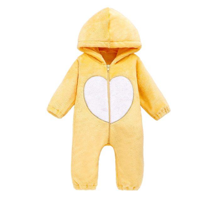 Newborn Winter Hooded Romper Baby Fleece Climbing Suit Autumn Zipper Heart Outwear Toddler Infant Boy Girl 4