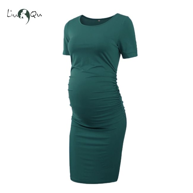 Pack of 3pcs Women s Side Ruched Maternity Clothes Bodycon Dress Mama Casual Short Sleeve Wrap 3