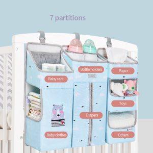 Sunveno Crib Organizer for Baby Crib Hanging Storage Bag Baby Clothing Caddy Organizer for Essentials Bedding 1