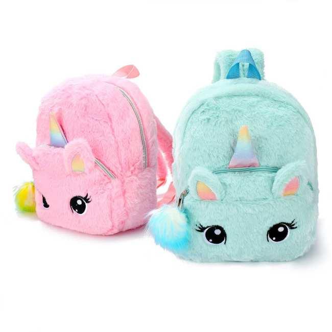 Unicorns Cartoon School Book Bag Girl Women Fur Backpack Kindergarten Cute Bag Travel Children Schoolbag Kids