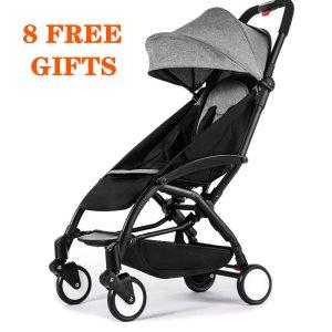 Yoyaplus Baby Stroller Portable Travel Baby Carriage Folding Pram Aluminum Frame High Landscape Stroller for Newborn