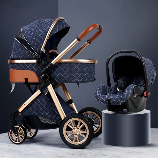 2020 New Baby Stroller 3 in 1 High Landscape Stroller Reclining Baby Carriage Foldable Stroller Baby 1