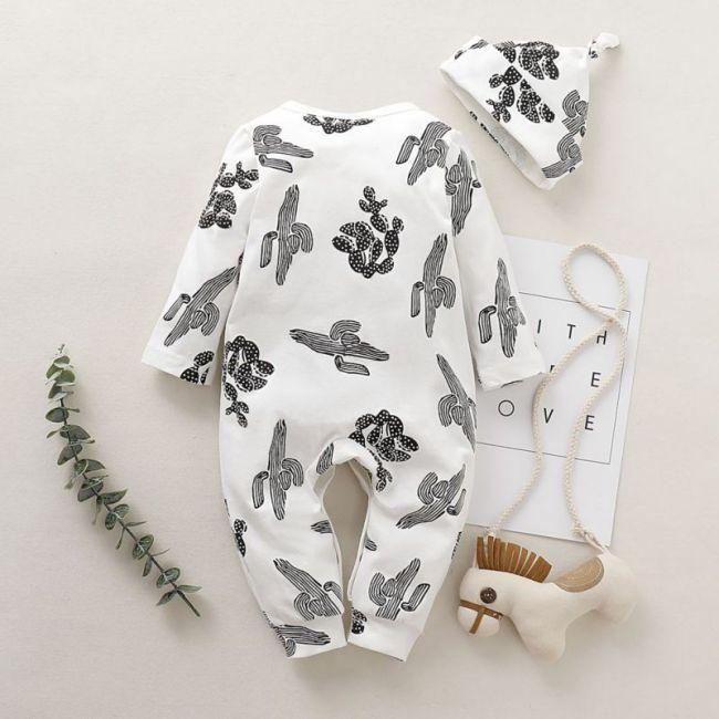 2pcs Baby Clothing Newborn Baby Kids Boys Girls Cactus Romper with beanie turban Full Sleeve Jumpsuit 1