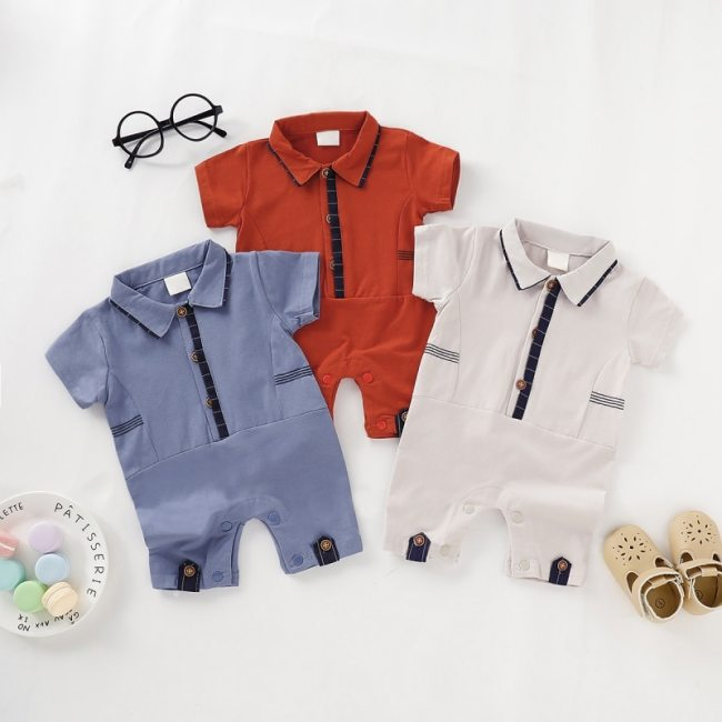 Baby Boy Girl Rompers Turn down Collar Infant Newborn Cotton Clothes Jumpsuit For 0 2Y Toddlers 1