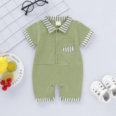 Baby Boy Girl Rompers Turn down Collar Infant Newborn Cotton Clothes Jumpsuit For 0 2Y Toddlers 4