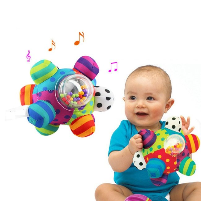 Baby Toys Fun Little Loud Bell Baby Ball Rattles Toy Develop Baby Intelligence Grasping Toy HandBell