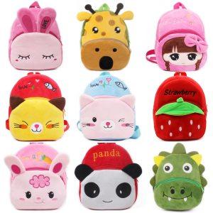 Fashion Children School Bags 3D Cartoon Print Plush Kids Backpack Kindergarten Boys and Girls School Bags