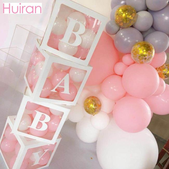 HUIRAN Transparent Name Age Box Girl Boy Baby Shower Decorations Baby 2 1st 1 One Birthday 1
