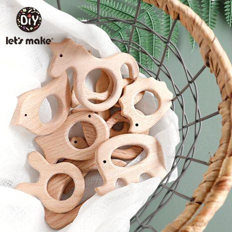 Let s Make 1PC Baby Teether Animal Wood Rings Unicorn Camera Hedgehog Food Grade Wooden Teether 1