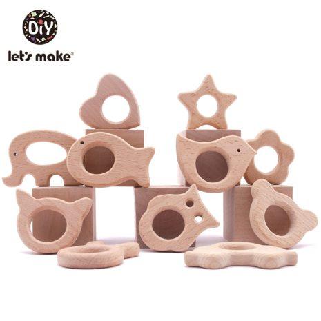 Let s Make 1PC Baby Teether Animal Wood Rings Unicorn Camera Hedgehog Food Grade Wooden Teether 4