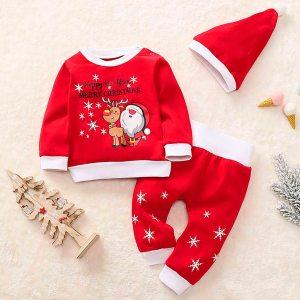Newborn Clothes Baby Girl Clothes Baby Boy Clothes Christmas Cartoon Santa Plaid Print Pajamas Sleepwear Outfits