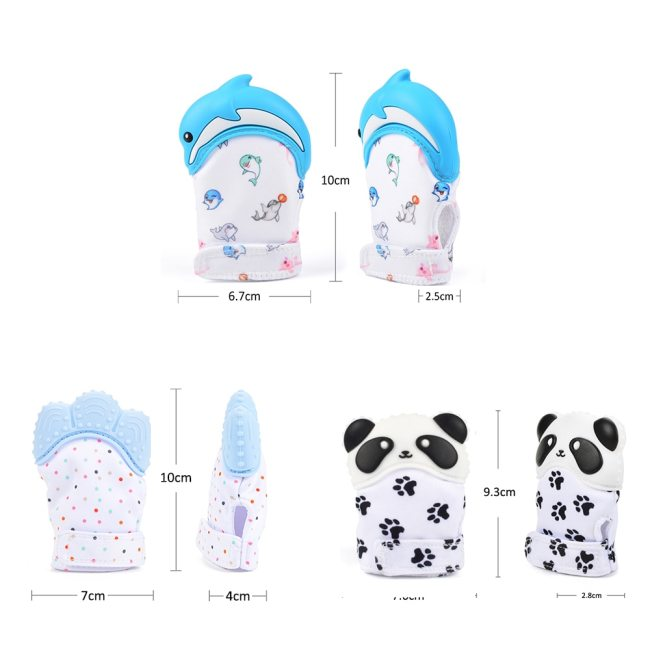 Silicone Teether 1pc Animal Dolphin Baby Teething Glove Panda Wrapper Sound Teething Chewable beads Newborn Toddler 1