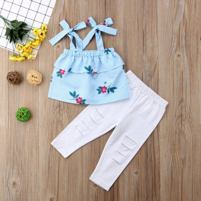 Summer Family Matching Mother Daughter Floral Print Striped Sleeveless Tops Hole Pants Clothes Mom Girl Kid 1