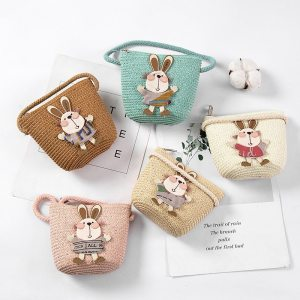 Summer Hand Made Straw Bags Children Single Inclined Shoulder Bags Exquisiteness Kids Cartoon Coin Purses Cute 1