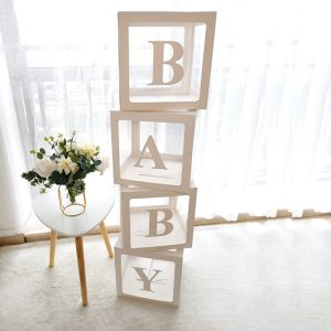 Transparent Balloons Box Name Age Box Baby Shower Decorations Baby 1st One Birthday Party Decor Gift