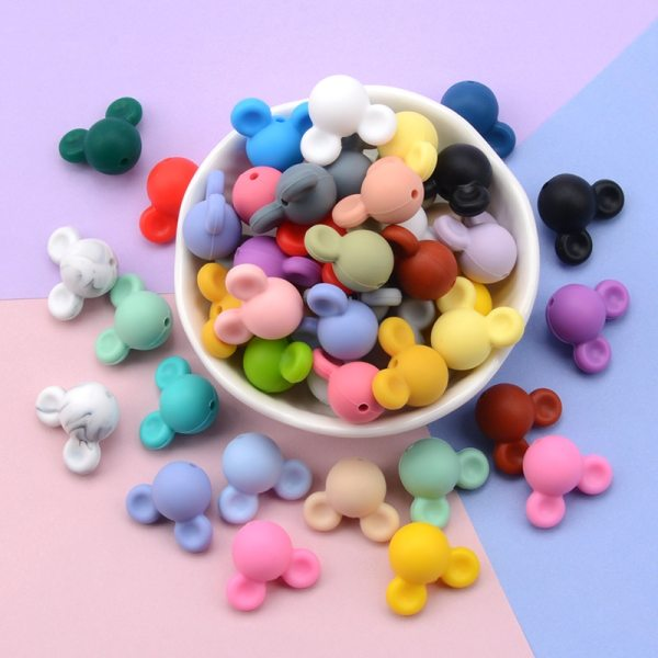 Wholesale 10pcs lot Mouse Baby Teething Beads Cartoon Silicone Beads For Necklaces BPA Free Teether Toy 4
