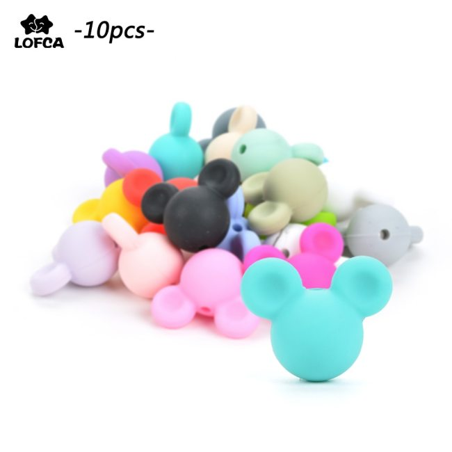 Wholesale 10pcs lot Mouse Baby Teething Beads Cartoon Silicone Beads For Necklaces BPA Free Teether Toy